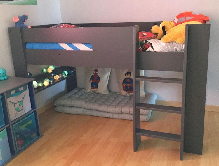 lit mi hauteur enfant wax gris anthracite 90x190 cm. Black Bedroom Furniture Sets. Home Design Ideas