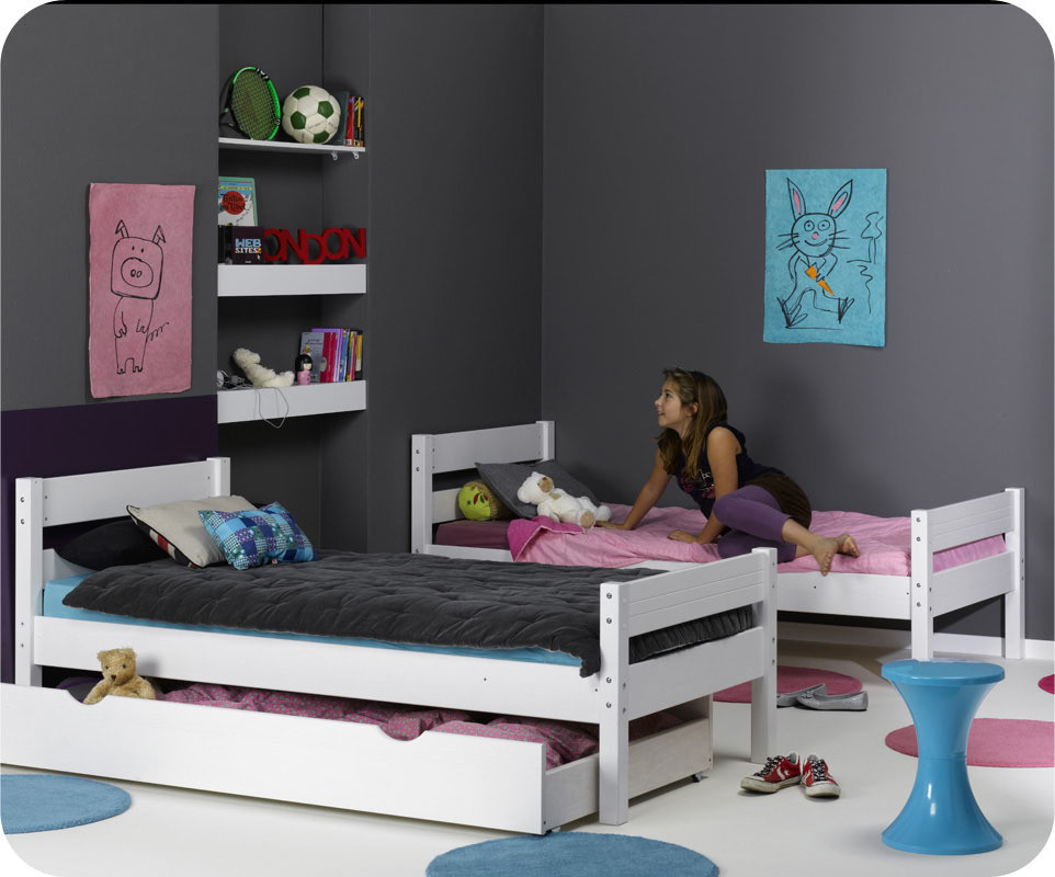 pack lit superpos enfant 1 2 3 blanc 90x190 cm avec 2 matelas. Black Bedroom Furniture Sets. Home Design Ideas