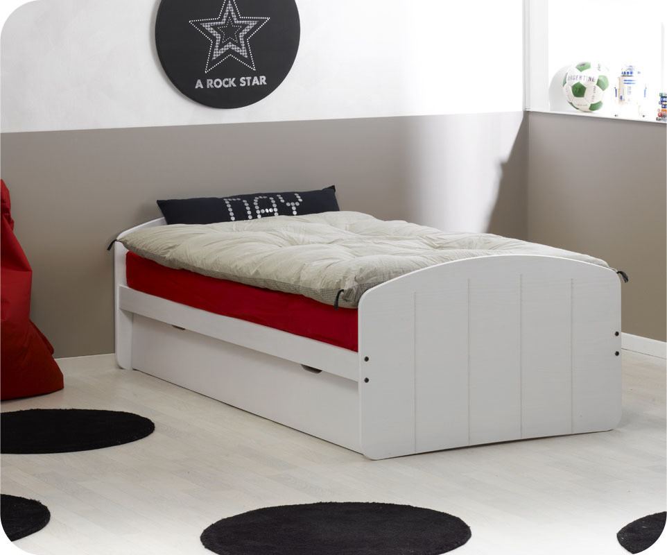 pack lit enfant gigogne dream 39 in blanc 90x190 cm avec 2 matelas. Black Bedroom Furniture Sets. Home Design Ideas