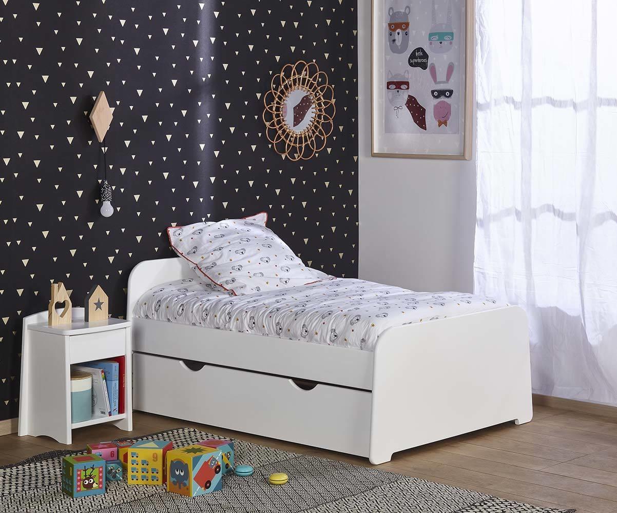 Pack lit enfant u00e9volutif Eden blanc avec matelas et tiroir
