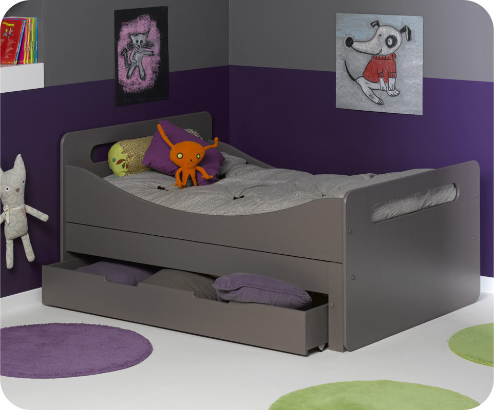 pack lit enfant volutif eden taupe avec matelas et tiroir. Black Bedroom Furniture Sets. Home Design Ideas