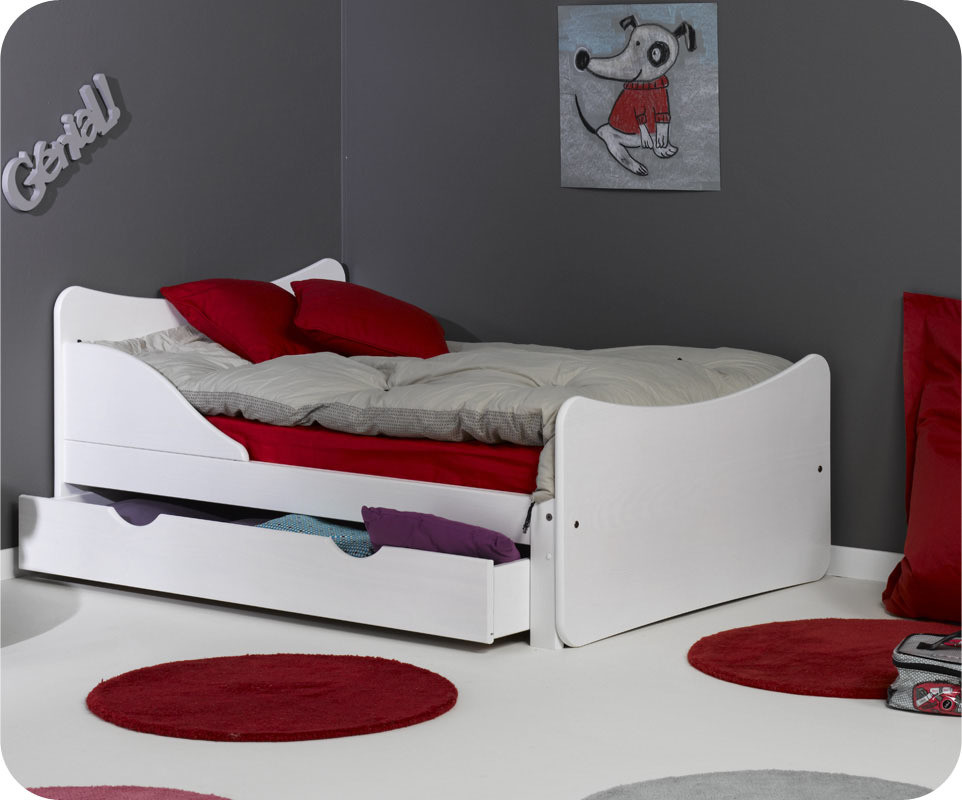 pack lit enfant volutif ivoo blanc avec matelas et tiroir. Black Bedroom Furniture Sets. Home Design Ideas