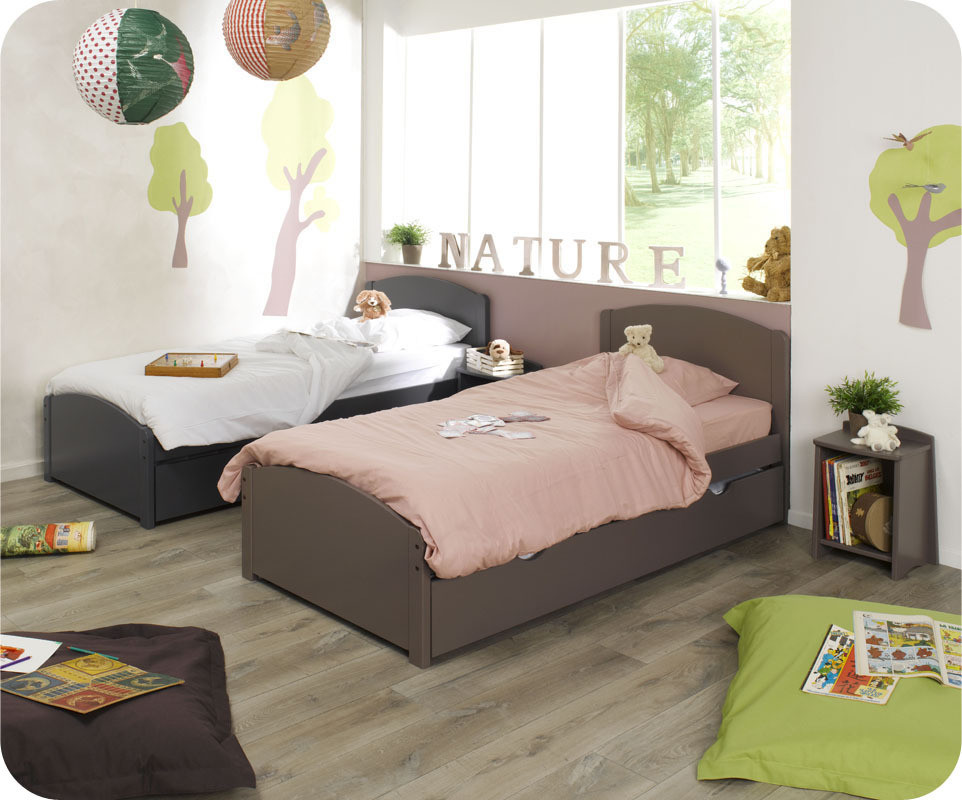 lit enfant nature taupe 90x190 cm. Black Bedroom Furniture Sets. Home Design Ideas