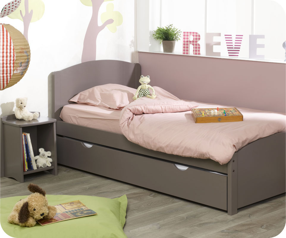 Lit enfant nature taupe 90x190 cm for Photo lit enfant