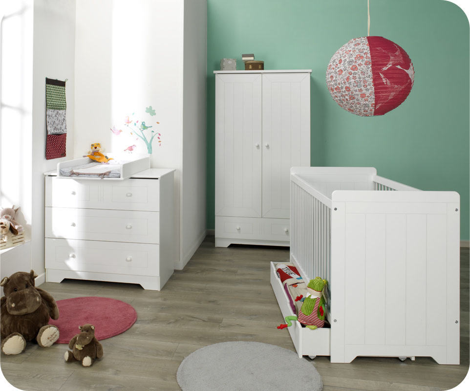 Armoire b b oslo blanche achat vente armoire chambre b b for Armoire chambre bebe