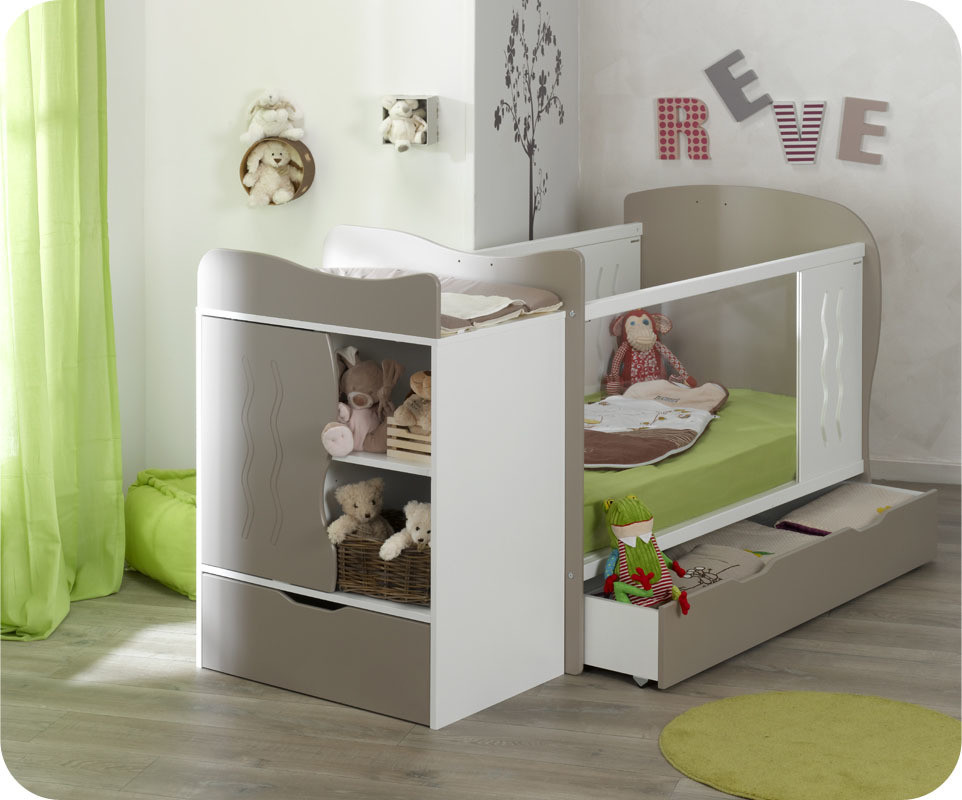 Lit b b volutif jooly lin et blanc - Couleur peinture chambre bebe ...