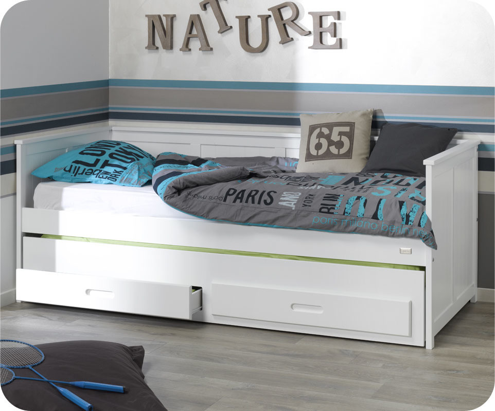 lit enfant gigogne sawm blanc avec tiroir. Black Bedroom Furniture Sets. Home Design Ideas