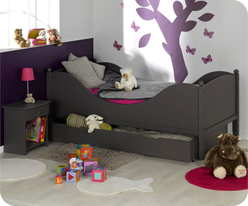 lit enfant color taupe 90x190 cm avec sommier et matelas. Black Bedroom Furniture Sets. Home Design Ideas