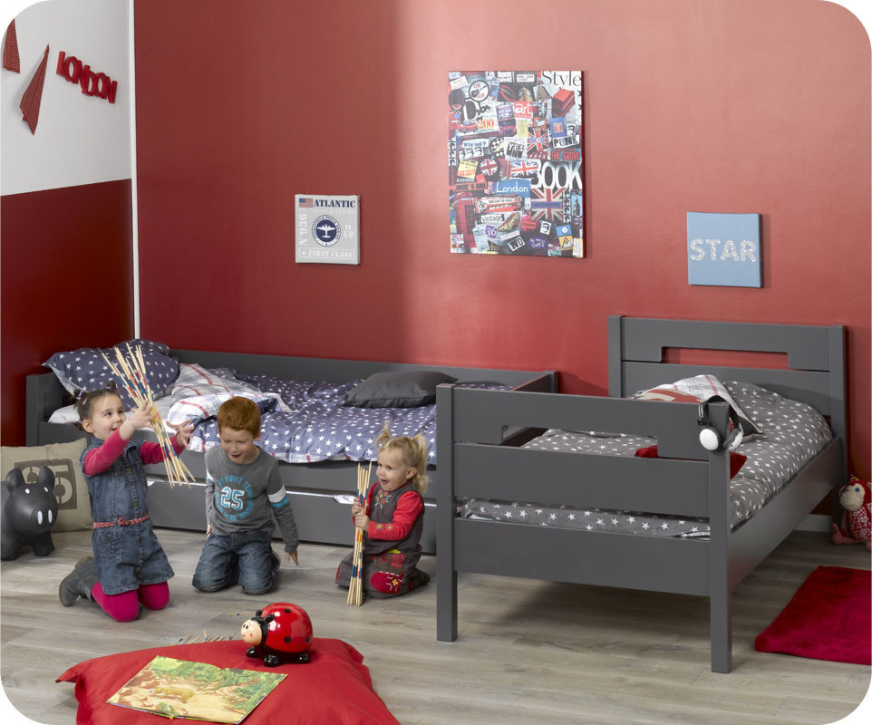 lit superpos enfant bow gris anthracite 90x190 cm achat vente lit superpos peinture l 39 eau. Black Bedroom Furniture Sets. Home Design Ideas
