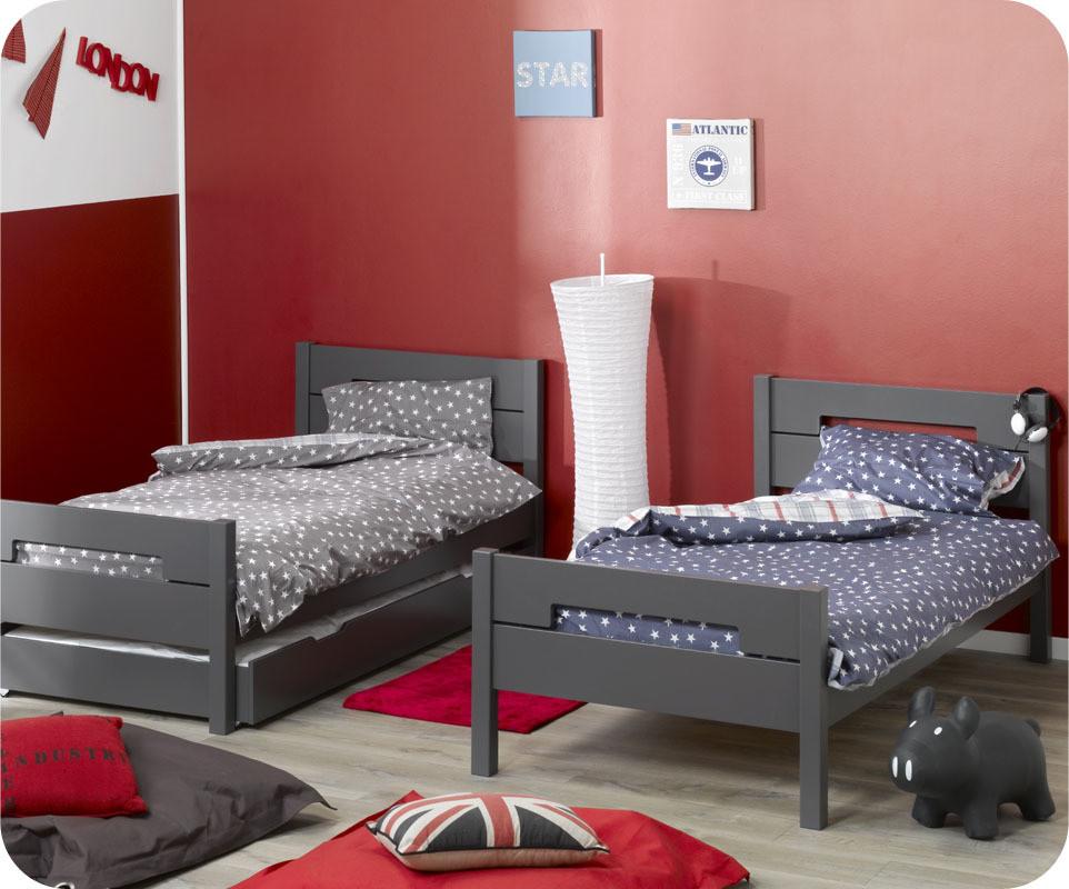 pack lit superpos enfant bow gris anthracite 90x190 cm avec 2 matelas. Black Bedroom Furniture Sets. Home Design Ideas