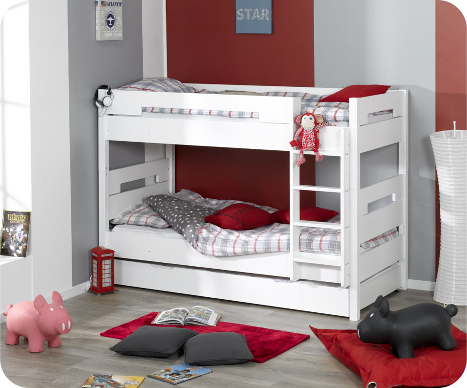 lit superpos enfant bow blanc 90x190 cm achat vente lit. Black Bedroom Furniture Sets. Home Design Ideas