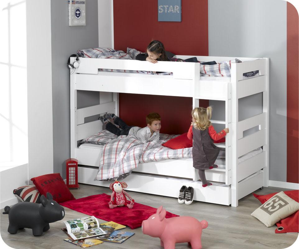 Lit superpos enfant bow blanc 90x190 cm achat vente lit for Lit superpose petite chambre