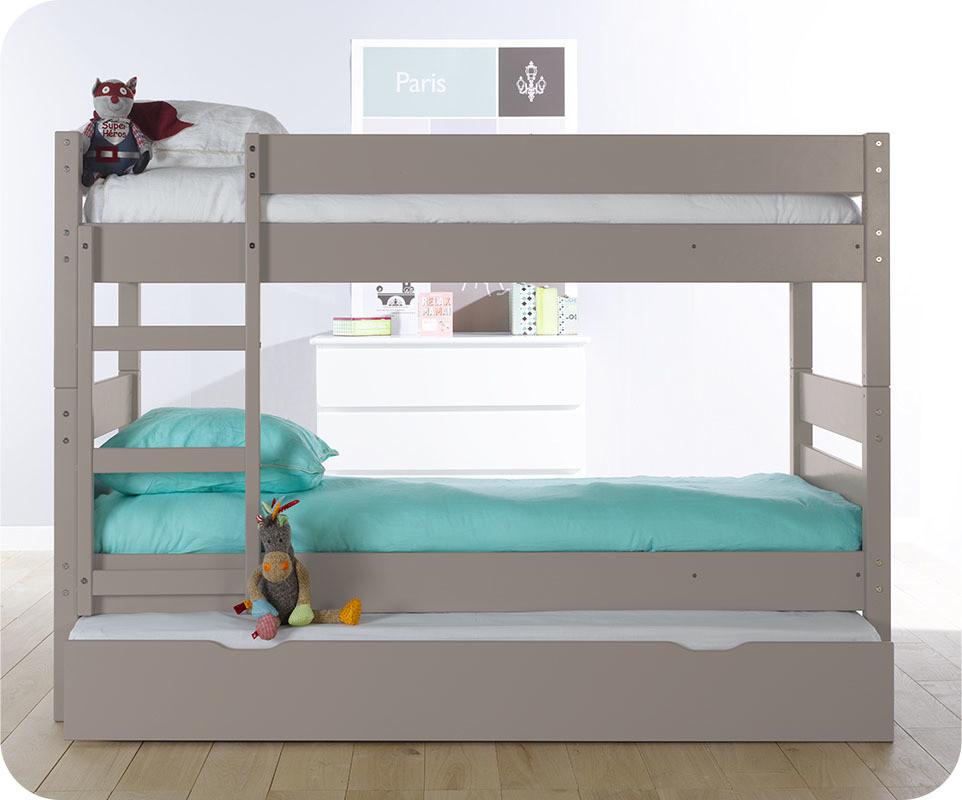 Lit superpos enfant 1 2 3 lin 90x190 cm avec sommier gigogne - Lit superpose avec tiroir lit ...