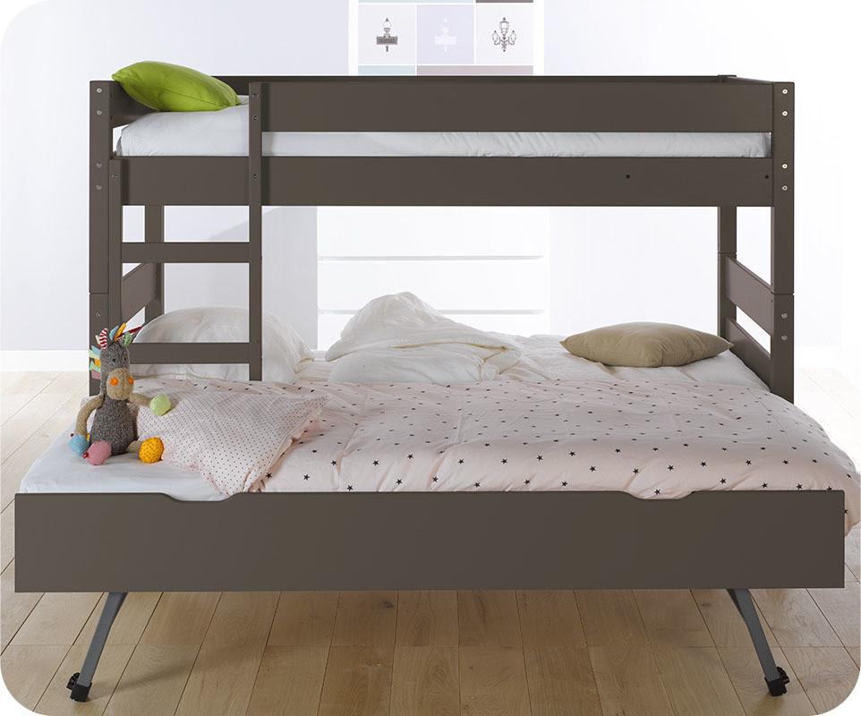 lit superpos enfant 1 2 3 couleur taupe 90x190 cm avec sommier gigogne. Black Bedroom Furniture Sets. Home Design Ideas