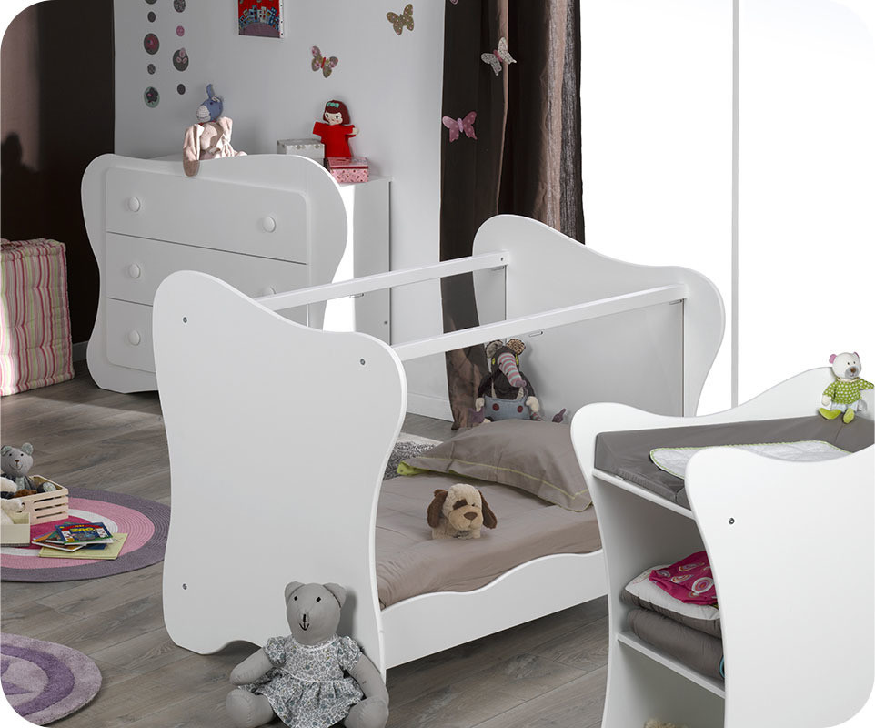 Mini chambre b b iris blanche for Table a langer blanche