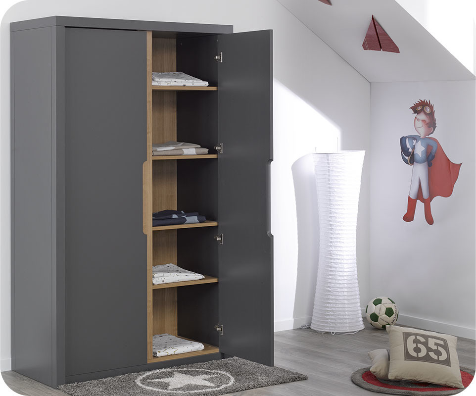 armoire enfant bow grise. Black Bedroom Furniture Sets. Home Design Ideas