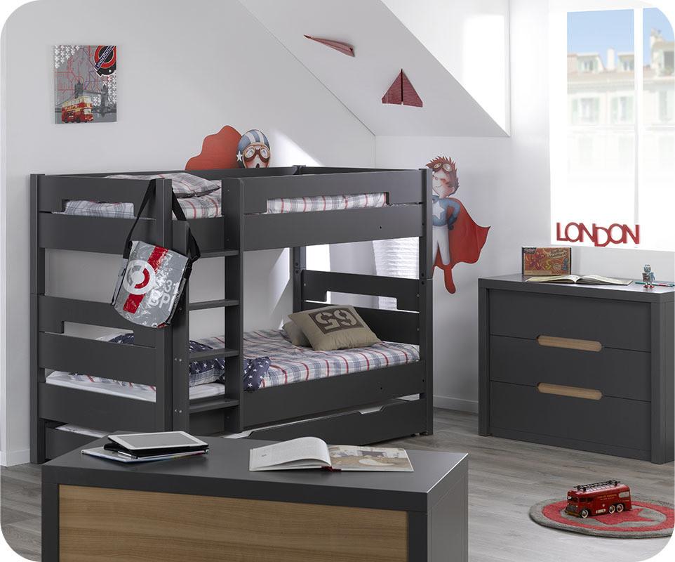 Chambre parentale noir gris chic for Commode chambre parentale