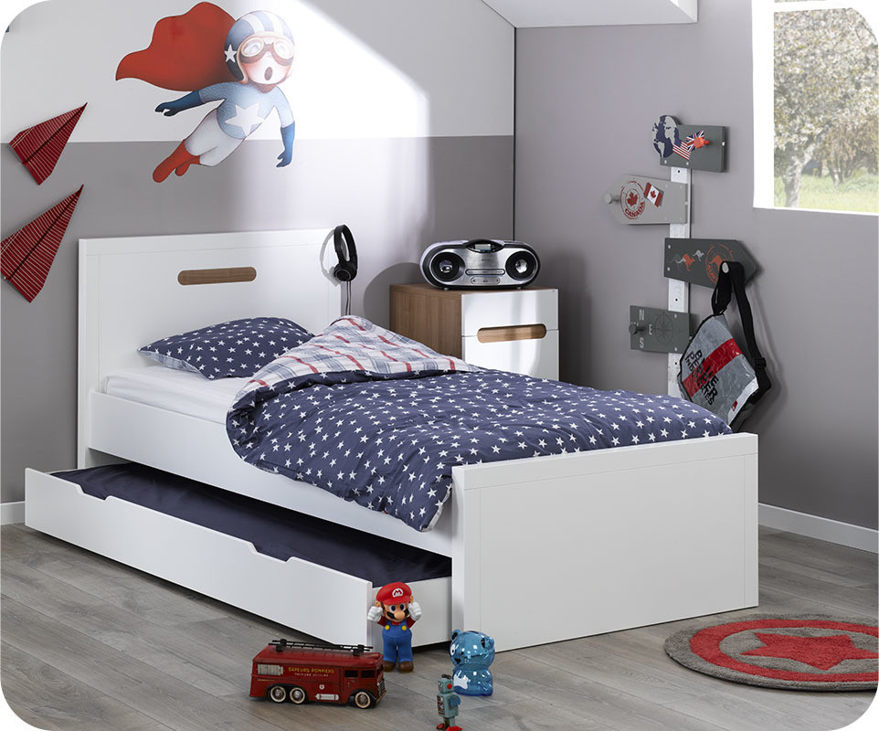 lit enfant gigogne bow blanc 90x200 cm ma chambre d 39 enfant. Black Bedroom Furniture Sets. Home Design Ideas