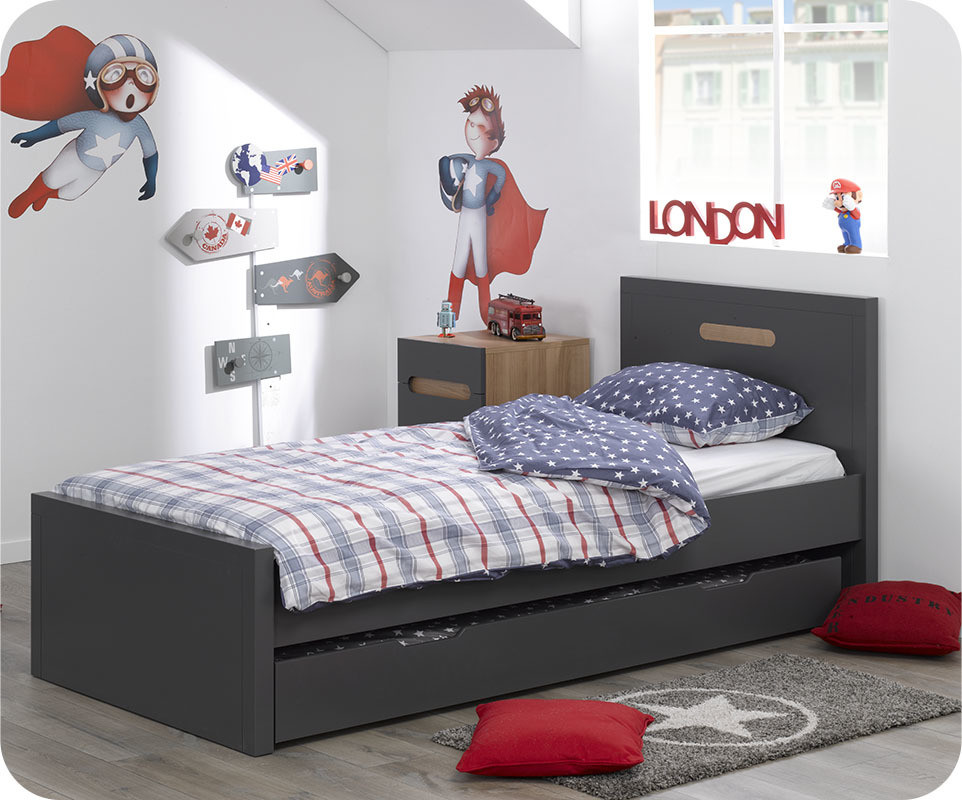 pack lit enfant gigogne bow gris anthracite 90x200 cm avec 2 matelas ma chambre d 39 enfant. Black Bedroom Furniture Sets. Home Design Ideas