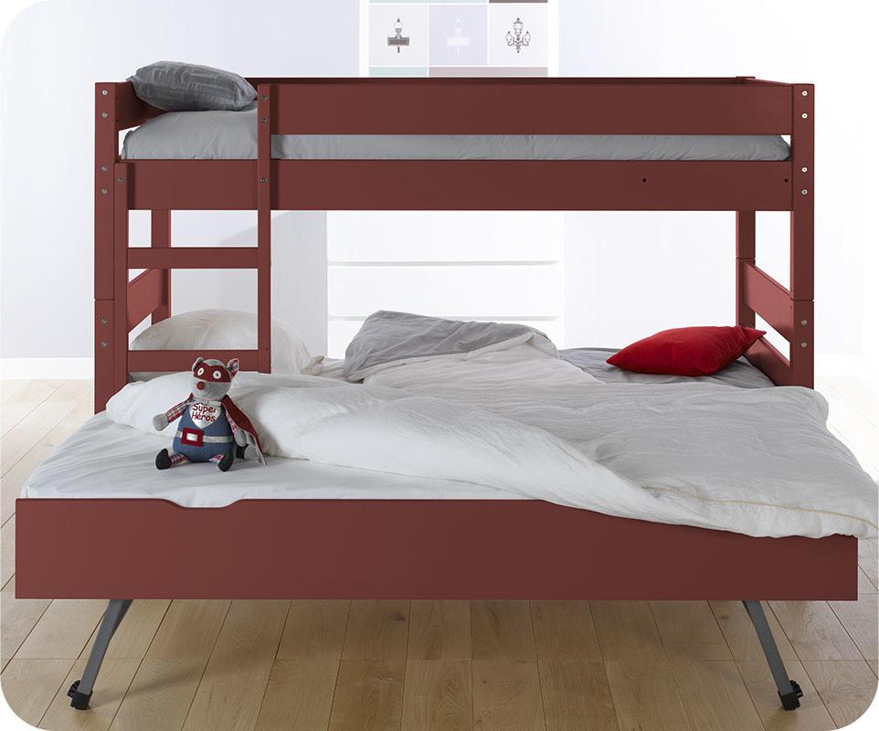 lit superpos enfant 1 2 3 rouge 90x190 cm avec sommier gigogne. Black Bedroom Furniture Sets. Home Design Ideas