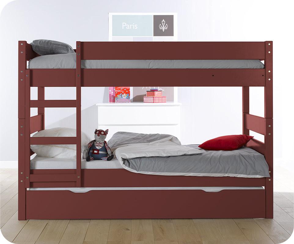 Lit superpos enfant 1 2 3 rouge 90x190 cm avec sommier gigogne - Lit superpose 3 couchages ...