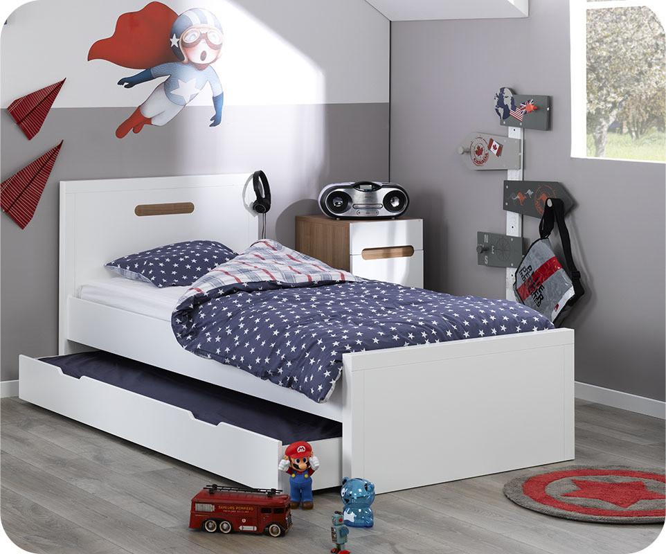 lit enfant bow blanc 90x200 cm avec sommier et matelas. Black Bedroom Furniture Sets. Home Design Ideas