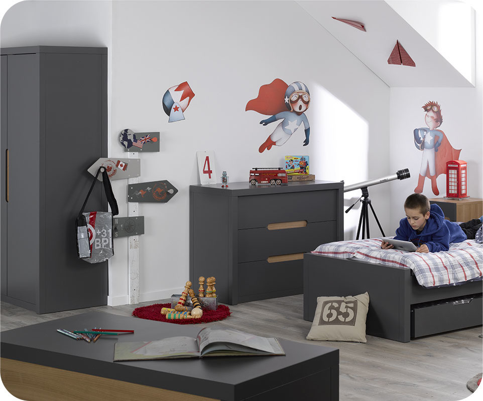 chambre enfant bow grise achat vente chambre enfant. Black Bedroom Furniture Sets. Home Design Ideas