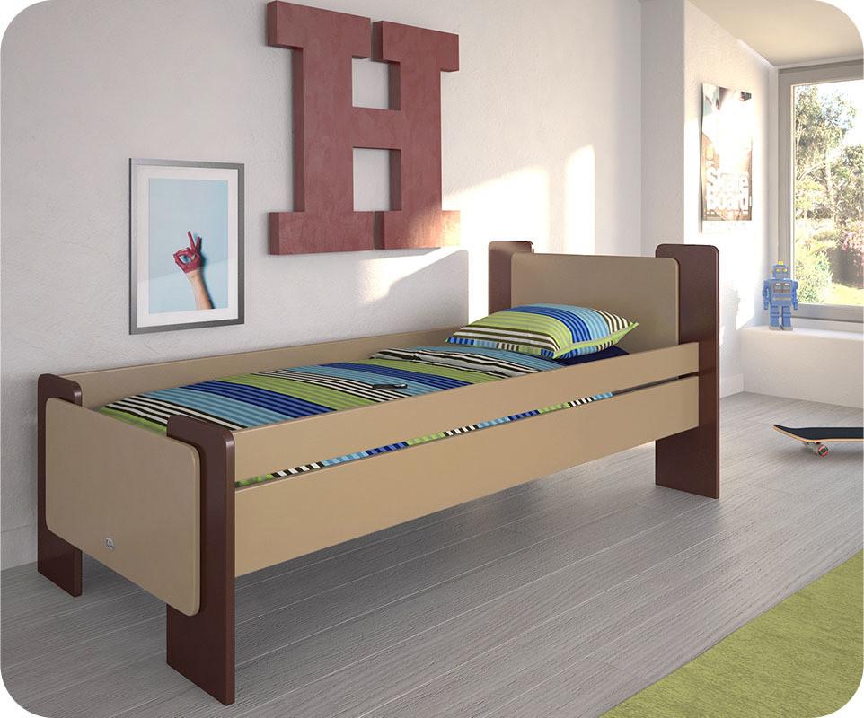 lit enfant b ne marron et brun 90x190 cm achat vente. Black Bedroom Furniture Sets. Home Design Ideas