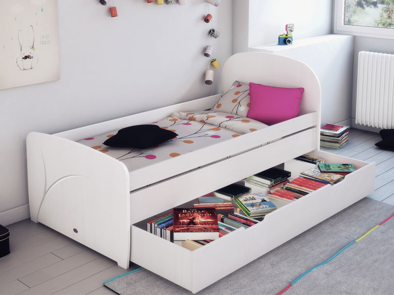 pack lit enfant luen blanc 90x190 cm avec sommier et matelas. Black Bedroom Furniture Sets. Home Design Ideas
