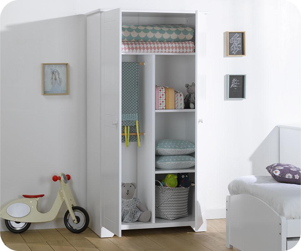 Armoire enfant nature blanche mobilier fabrication fran aise - Armoire chambre enfants ...
