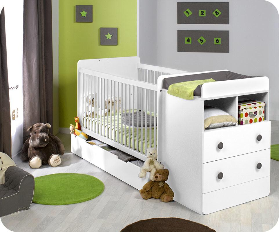 lit b b volutif malte couleur blanc avec matelas b b. Black Bedroom Furniture Sets. Home Design Ideas