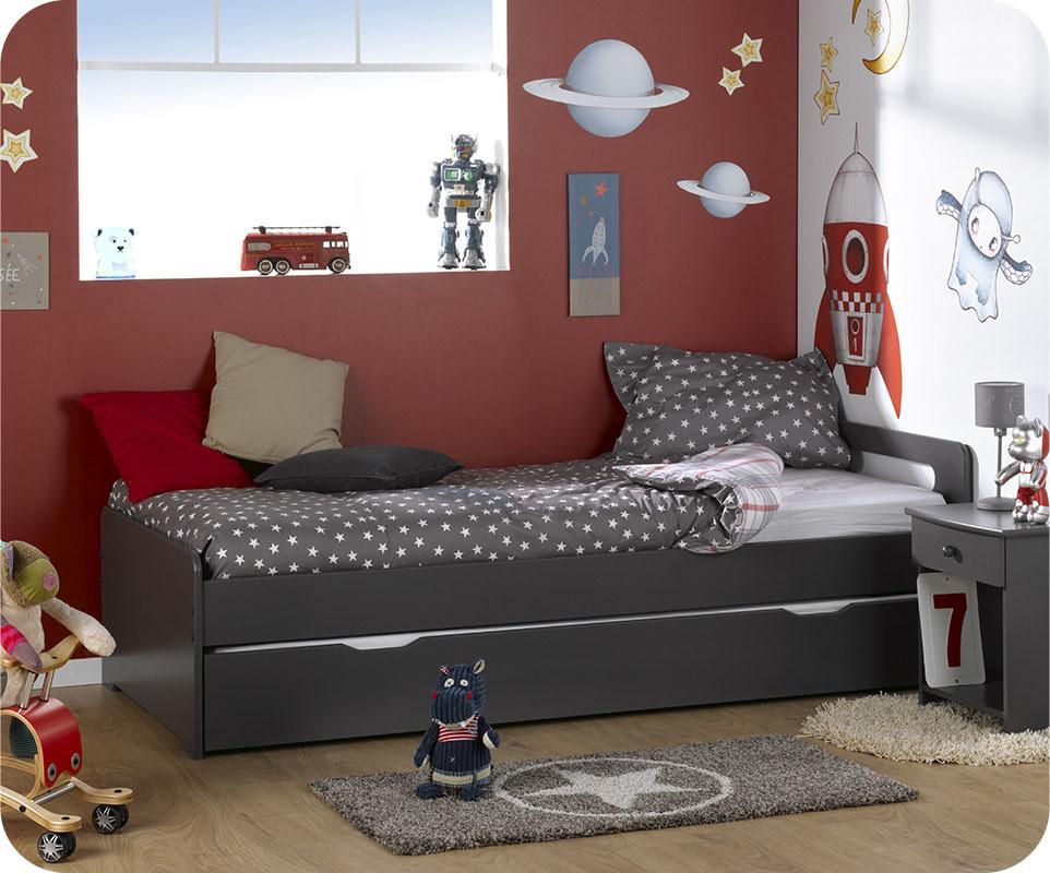 lit enfant gigogne eden gris gris anthracite 90x200 cm. Black Bedroom Furniture Sets. Home Design Ideas