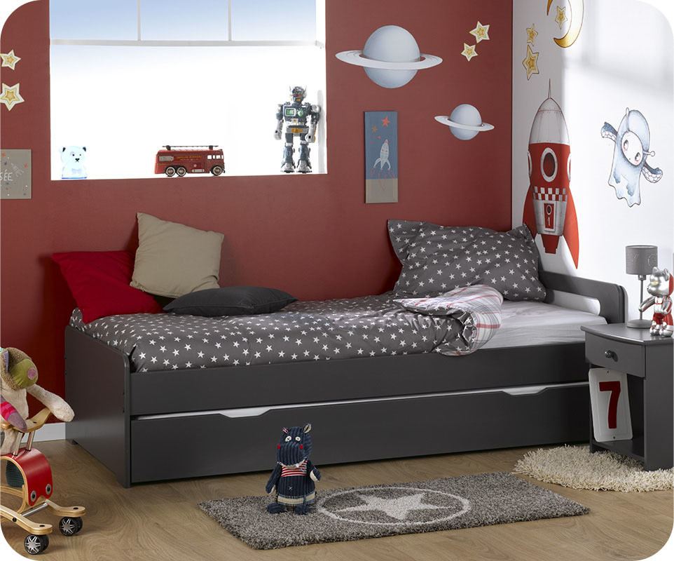 pack lit enfant gigogne eden gris anthracite 90x200 cm. Black Bedroom Furniture Sets. Home Design Ideas