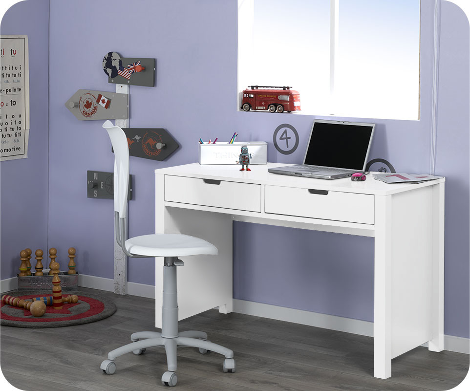 bureau enfant teen blanc achat vente bureau chambre enfant com. Black Bedroom Furniture Sets. Home Design Ideas