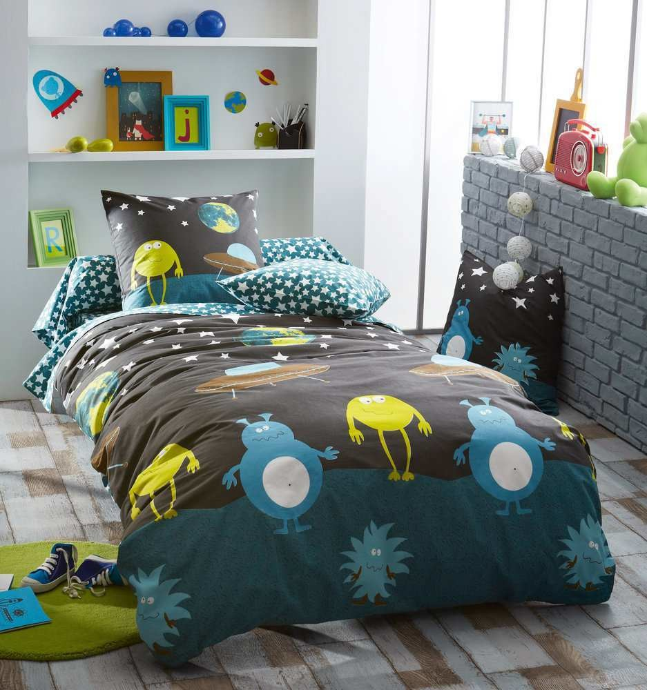 housse de couette monster pour lit volutif 140x150 cm et sa taie. Black Bedroom Furniture Sets. Home Design Ideas