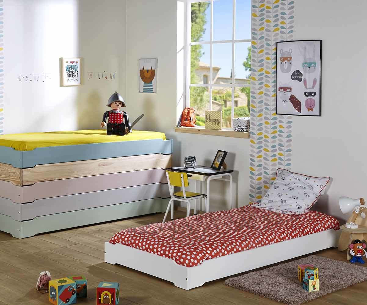 lit enfant empilable blanc 90x190 cm lit pour enfant bois. Black Bedroom Furniture Sets. Home Design Ideas