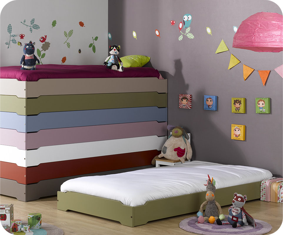 lit enfant empilable olive 90x190 cm avec sommier. Black Bedroom Furniture Sets. Home Design Ideas