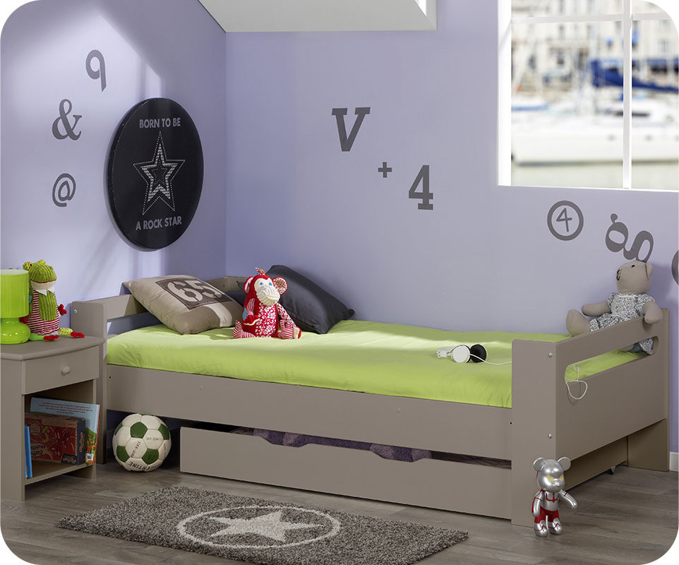 pack lit enfant wax lin 90x190 cm avec sommier et matelas. Black Bedroom Furniture Sets. Home Design Ideas