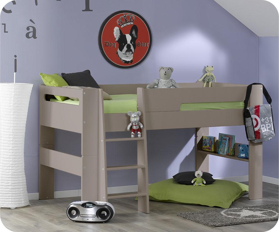 Lit mezzanine enfant wax lin 90x190 cm ma chambre d 39 enfant - Lit fille en hauteur ...