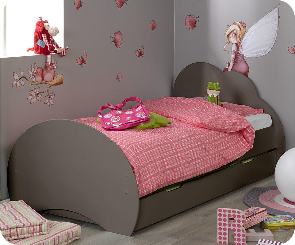 lit enfant nuage taupe 90x190 cm avec sommier et matelas. Black Bedroom Furniture Sets. Home Design Ideas