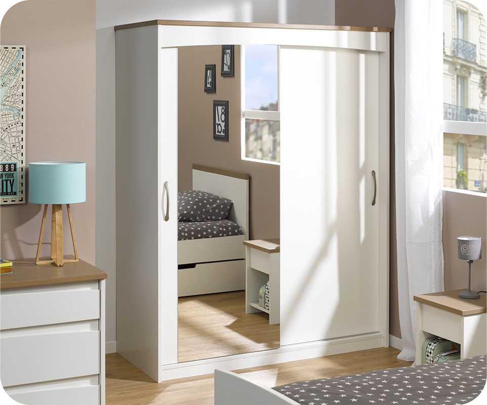 armoire enfant island blanche 2 portes avec miroir. Black Bedroom Furniture Sets. Home Design Ideas