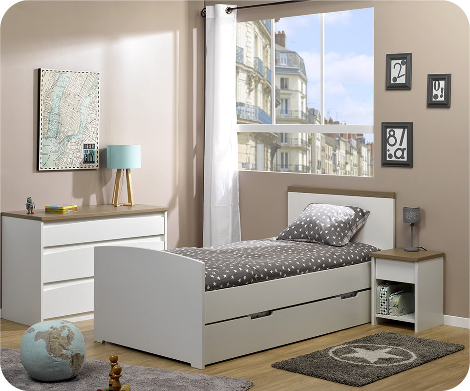 Pack lit enfant gigogne island blanc 90x190 cm avec 2 matelas - Destockage lit enfant ...