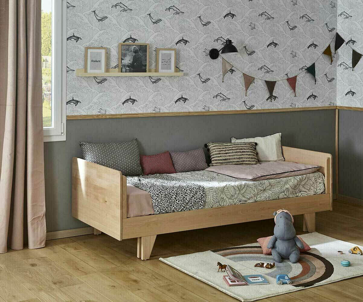 lit gigogne enfant nature blanc 90x190 cm. Black Bedroom Furniture Sets. Home Design Ideas