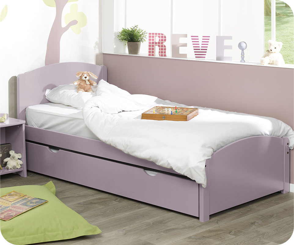 pack lit enfant gigogne nature lilas pastel 90x190 cm avec 2 matelas. Black Bedroom Furniture Sets. Home Design Ideas