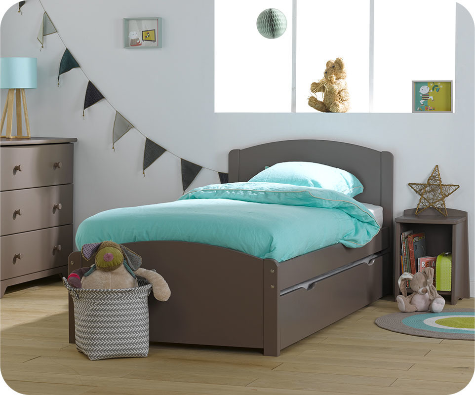 pack lit enfant gigogne nature taupe 90x190 cm avec 2. Black Bedroom Furniture Sets. Home Design Ideas