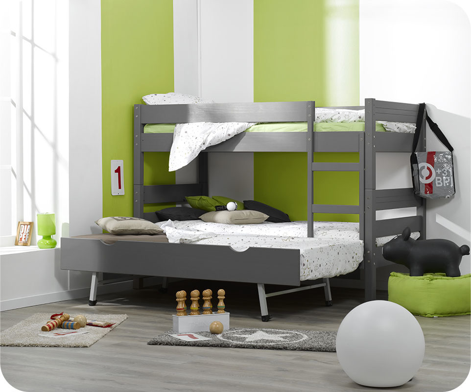 Lit enfant superpos gris anthracite 90x190 cm - Lit superpose 3 places but ...