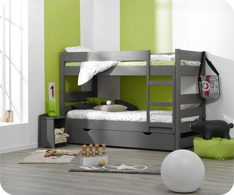 Lit superpos enfant 1 2 3 gris 90x190 cm avec sommier gigogne - Lit superpose avec lit tiroir ...