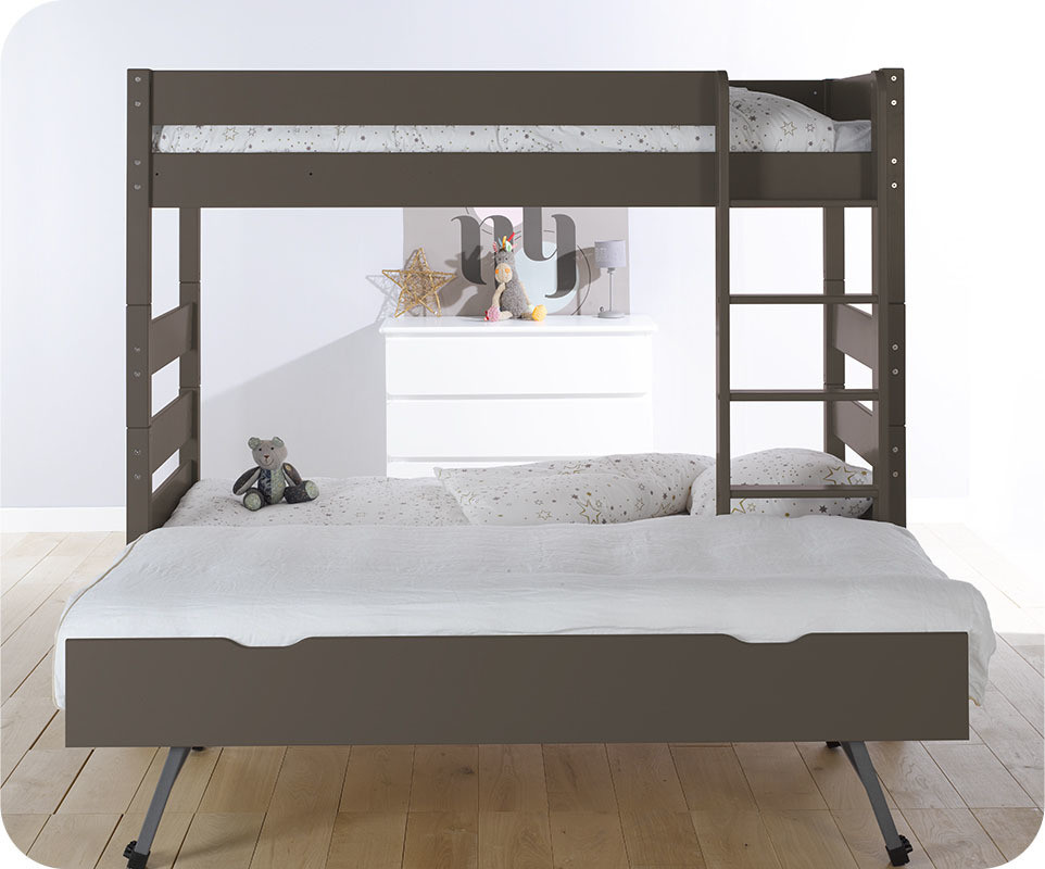 lit superpos kids taupe 90x190 cm avec sommier gigogne. Black Bedroom Furniture Sets. Home Design Ideas