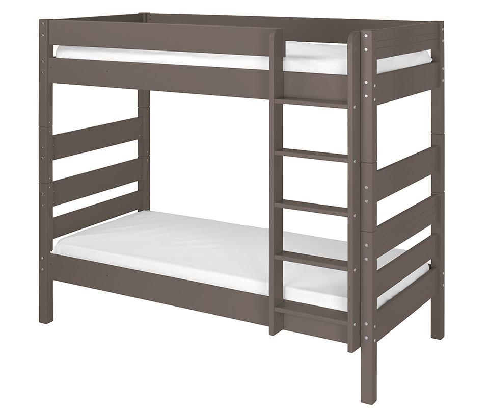 lit superpos kids taupe 90x190 cm avec sommier gigogne. Black Bedroom Furniture Sets. Home Design Ideas