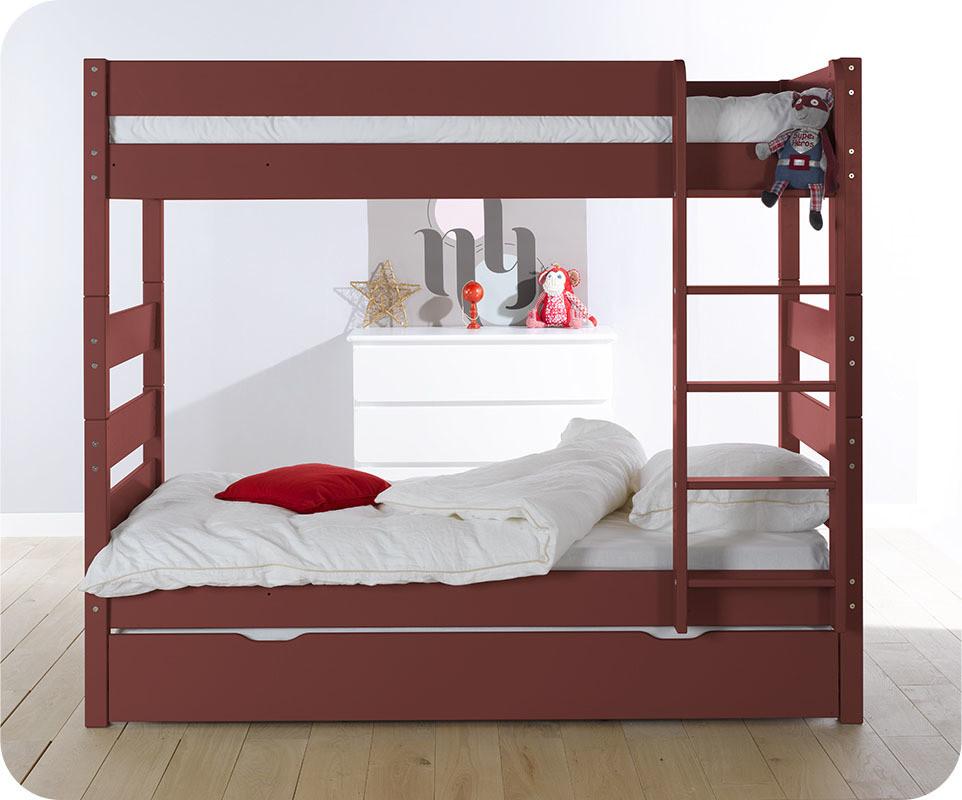 Pack lit superpos kids rouge 90x190 cm avec 2 matelas - Hauteur lit superpose ...